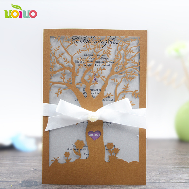 Beautiful Tree Thank You Card Laser Cut Luxurious Wedding Cards Tree
