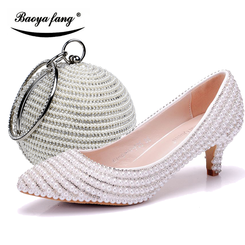 Woman Wedding shoes with matching bags white black pearl crystal fashion shoe and purse set 5cm