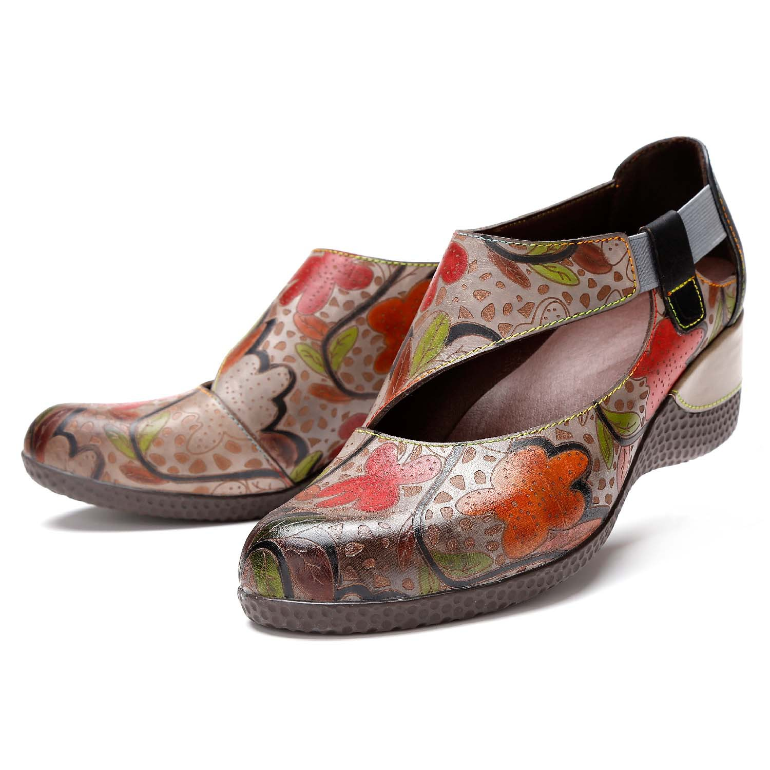 YLQP New Arrival 2018 Women Autumn Genuine Leather High Heel Shoes Handmade Vintage Flower Print Wedges Shoes Woman Pumps Loafer bfdadi 2018 new arrival hat genuine