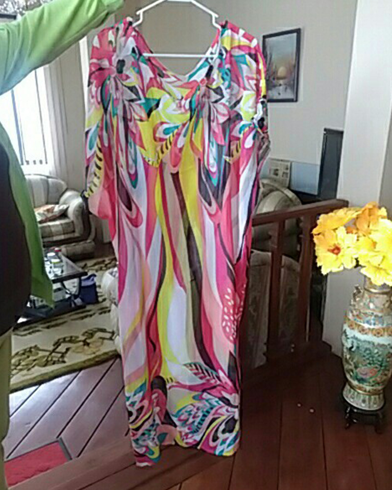 e44909f680e6 Mujeres Kaftan playa vestido de verano cubre Pareos Sarongs Sexy Chiffon  Bikini impreso cubierta-Up playa túnica traje de baño Bata de Plage