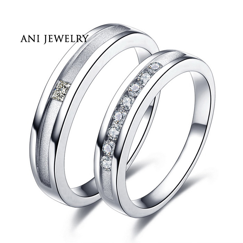 ANI 18K White/Yellow/Rose Gold (AU750) Women Wedding Ring SI Certified Real Natural Diamond Fashion Couple Engagement Ring authentic au750 rose gold ring fashion number designer 520 ring 0 95g hot sale
