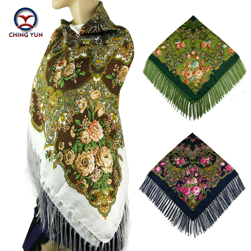 2017 Winter New Fashion women's tassel   Scarf   Square Floral Printed Brand shawls Female   Scarf   women cotton   scarves     wraps   120-4