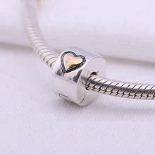 925 Sterling Silver european stopper charm gold heart Lock Clip original Fits Pandora Charms Bracelets diy