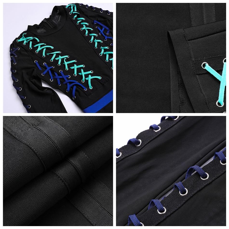 CIEMIILI 2018 Women Dress With Mesh Patchwork Bandage Dress Elegant Party Fashion O Neck Cross Tips Sexy Bodycon Club Vestido