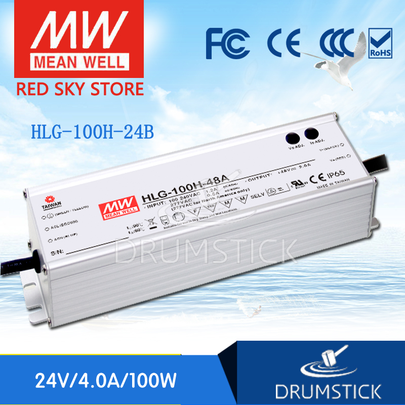 Hot sale MEAN WELL HLG-100H-24B 24V 4A meanwell HLG-100H 24V 96W Single Output LED Driver Power Supply B type advantages mean well hlg 100h 54b 54v 1 77a meanwell hlg 100h 54v 95 58w single output led driver power supply b type [real6]