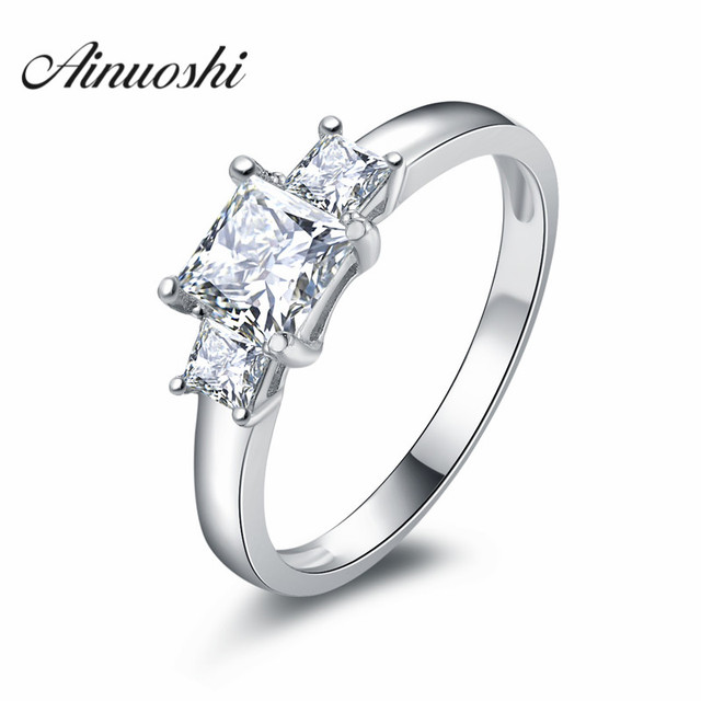 Princess Cut Sona Wedding Bands Rings 3 Stones Ring 925 Silver Engagement Synthetic Nscd Fine
