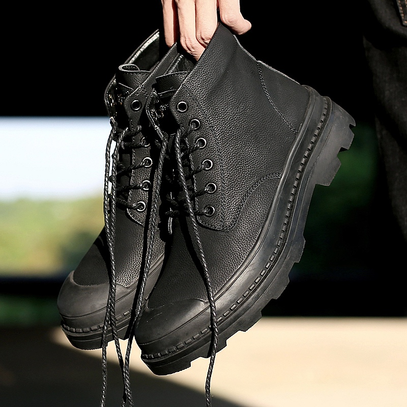 High Top Working Safety Boots Comfortable Military Shoes mens Rubber Bottom  Leather Boots Lace Up Black Work Footwear Mens-in Work & Safety Boots from  Shoes ...