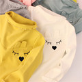 Cotton Kids T Shirt Cartoon Rabbit Long Sleeve Baby Girls T-Shirt Children Pullovers Tee Kids Clothes 2017 spring new style