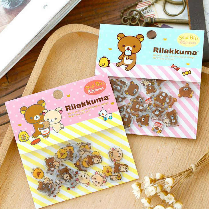 80pcs/lot PVC Kawaii Rilakkuma Stickers Scrapbooking Sanrio Sentimental Circus Japanese Stickers Line Friend  Stationary Set