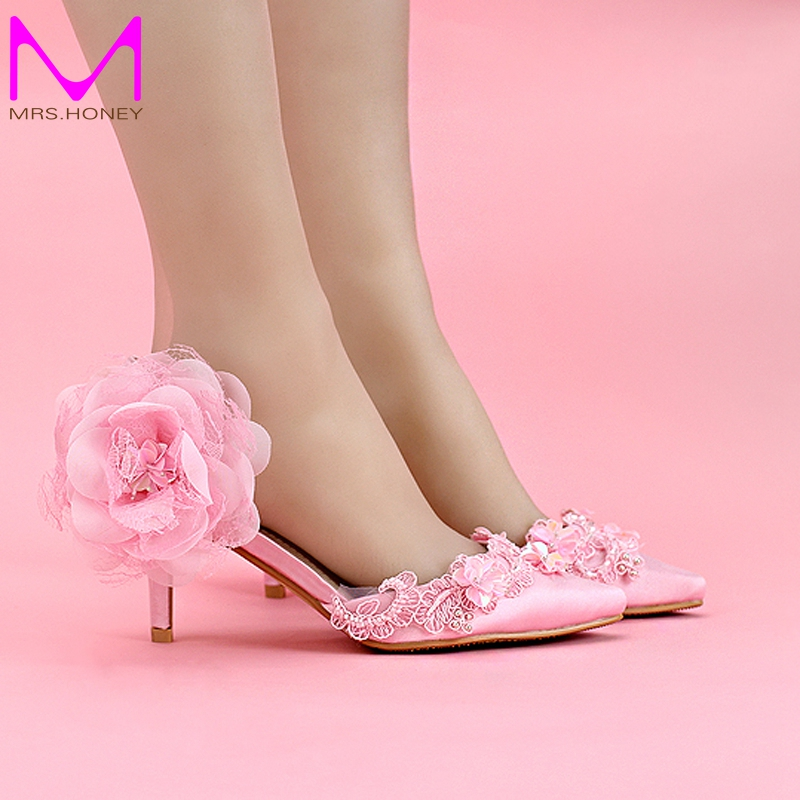 Brand New Ladies Pink Satin Wedding Shoes Pointed Toe Fashionable Party Shoes Elegant Women Pumps Heels
