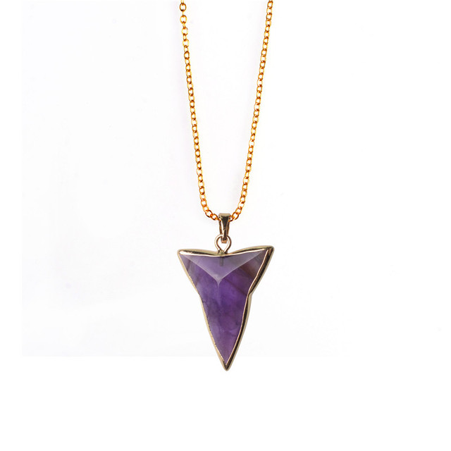 Summer jewelry triangle necklace purple pink natural quartz stone summer jewelry triangle necklace purple pink natural quartz stone healing crystal pendant necklaces for women collars aloadofball Images