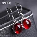 Send Identify Certificate ! YINHED Red Corundum Jewelry Earring 925 Sterling Silver Synthetic Ruby Drop Earrings for Women ZE044