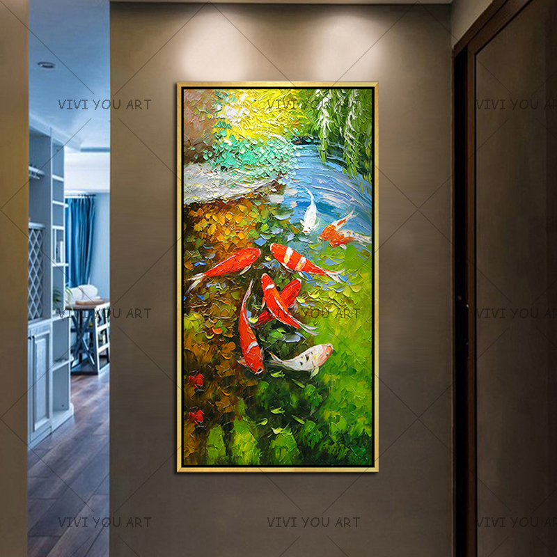 Immagine di Arte della parete Cinese Astratto Nove Koi Pesce Paesaggio Fatto A Mano Pittura A Olio Per Soggiorno Decorazione Moderna Della Tela opere d'arte - 2
