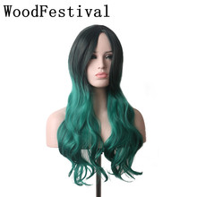 heat resistant synthetic hair wigs ombre gradient black green wig purple long wavy wig 65cm womens wigs lolita WoodFestival  long fluffy wavy oblique bang synthetic lolita wig