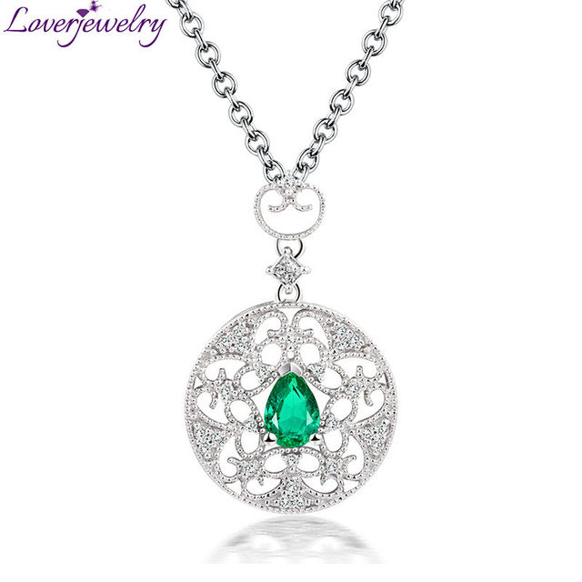 Solid 18kt white solid gold natural diamond emerald wedding pendant solid 18kt white solid gold natural diamond emerald wedding pendant necklace royal design wholesale for women mozeypictures Choice Image