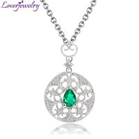 Solid 18Kt White Solid Gold Natural Diamond Emerald Wedding Pendant Necklace Royal Design Wholesale for Women WP056