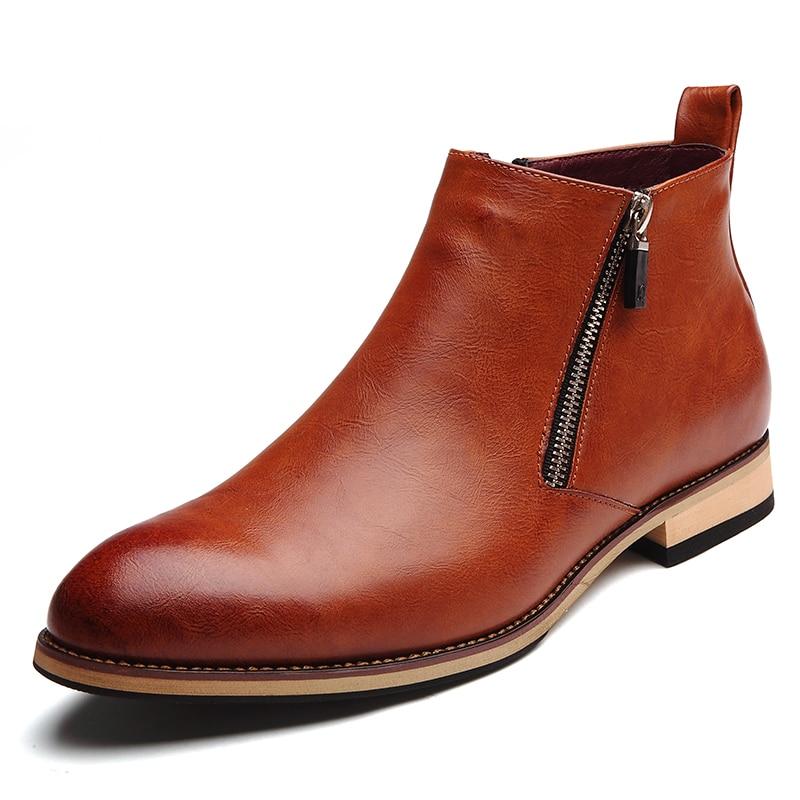 On Bota cinza Ankle Homens Brogues Slip Estilo Moda Sapatos Chelsea Preto Primavera Casuais 2018 Macio cinza Britânico marrom Couro Botas marrom Boots Dos inverno De PxBnwqRA
