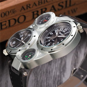 Image 5 - Oulm Horloge Top Merk Mannen Horloges Kompas Decoratie Twee Tijdzone Klok Lederen Mannen Casual Horloges Relogio Masculino
