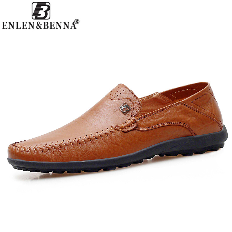 Causal Men Shoes Hot Sale Handmade High-Quality Genuine Leather Men Flats Breathable Slip-on Business Lazy Driving Shoes Sapato branded men s penny loafes casual men s full grain leather emboss crocodile boat shoes slip on breathable moccasin driving shoes