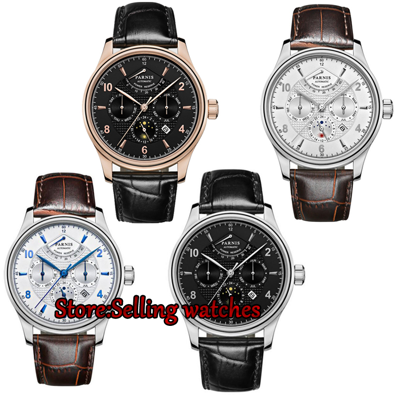 42mm parnis white dial power reserve sapphire glass Multifunction 26 jewels MIYOTA 9100 Automatic movement men's Watch 42mm parnis withe dial sapphire glass miyota 9100 automatic mens watch 666b