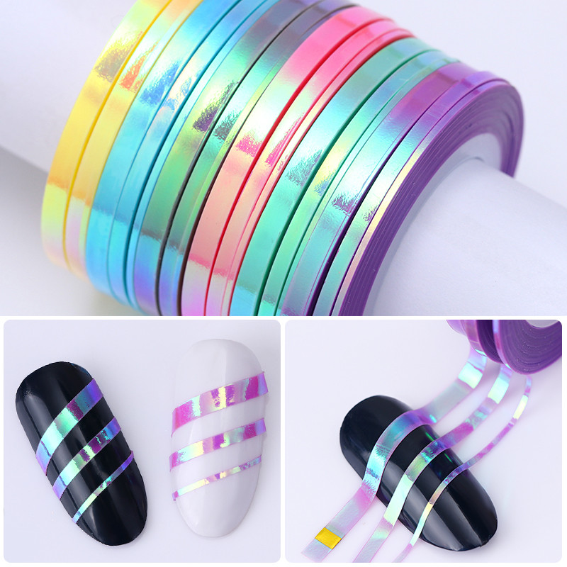 3Pcs Mermaid Nail Striping Tape Line Holographic 1mm 2mm 3mm Laser Adhesive Line Decal DIY Styling Transfer Sticker UV Gel 3pcs mermaid nail striping tape line holographic 1mm 2mm 3mm laser adhesive line decal diy styling transfer sticker uv gel