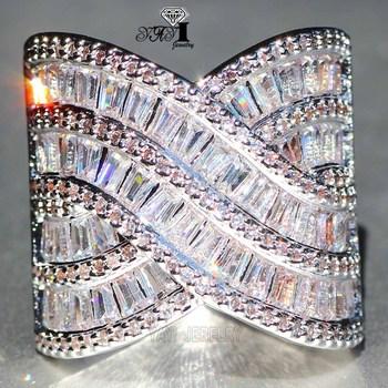 YaYI biżuteria moda księżniczka Cut 8 2 CT biały cyrkon srebrny kolor pierścionki zaręczynowe obrączki ślubne pierścionki Party prezenty tanie i dobre opinie yayi jewelry Kobiety Miedzi Cyrkonia Prong ustawianie TRENDY Zespoły weselne Geometryczne 20mm Zaręczyny HR693