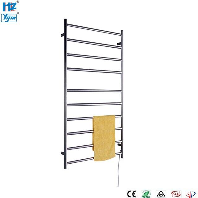 Size Electrical Heated Towel Rail Shelf Stainless Steel Polished Warmer Rack Bathroom Drying