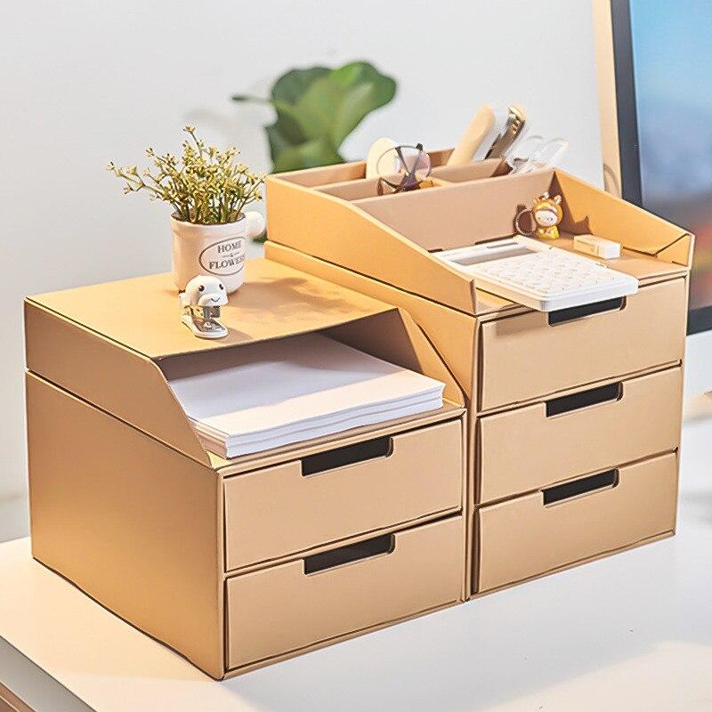 Retro Wooden Jewelry Makeup Box With 4 Drawers Multi Layer Organizer Storage