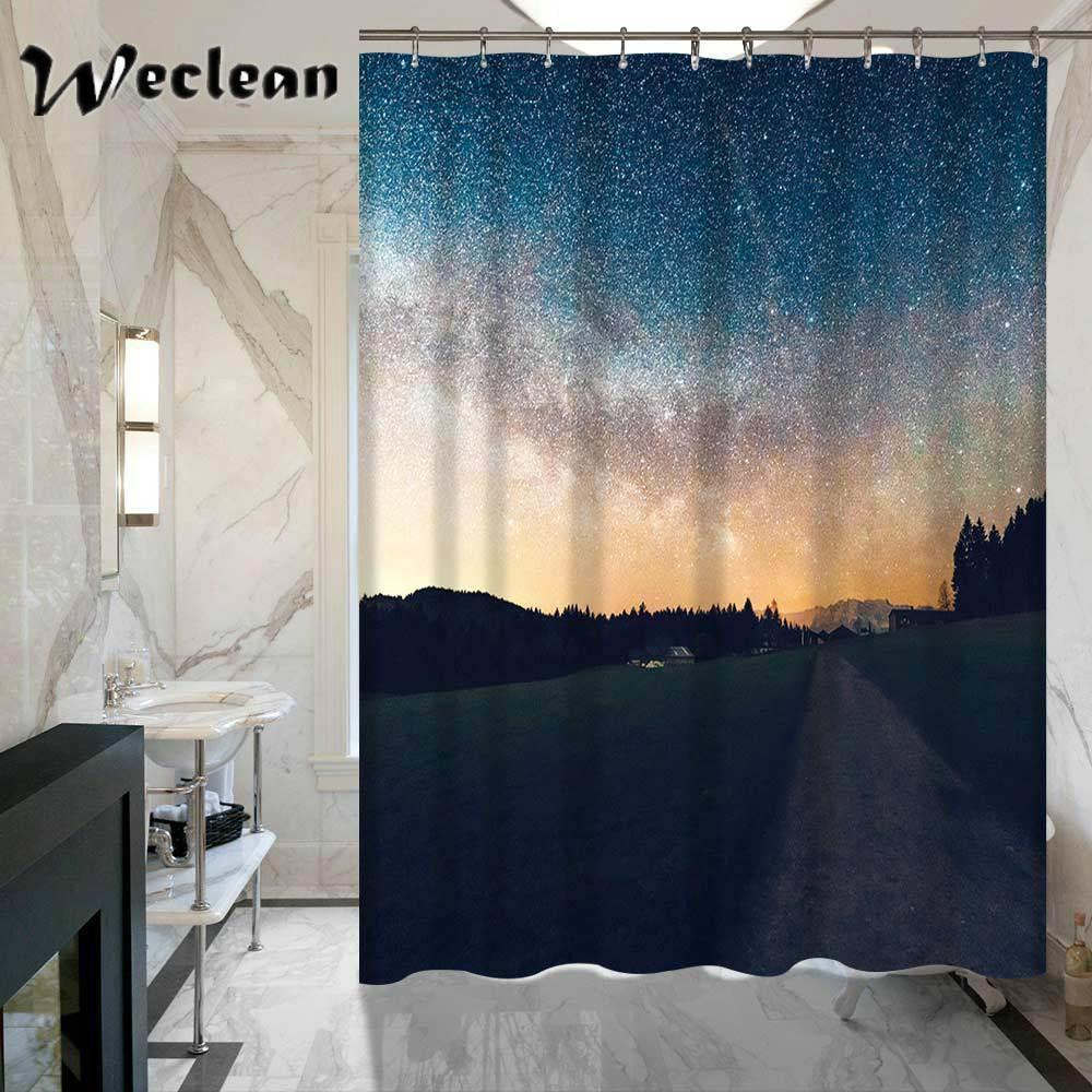 Weclean 1 Piece 3D Printed Galaxy Shower Curtain For Bathroom Hotel ...