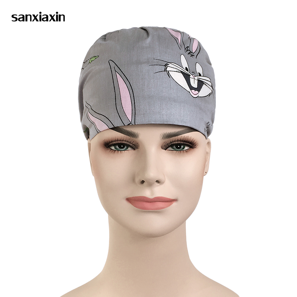 Unisex Gray Print Medical Uniform Accessories Surgical Cap Dental Oral Cosmetic Beauty Salon Pet Hospital Food Service Work Hats