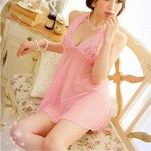 Новые сексуальные костюмы женские Холтер Кружева спинки белье Babydoll пижамы+ стринги милая розовая ночная рубашка CC1311