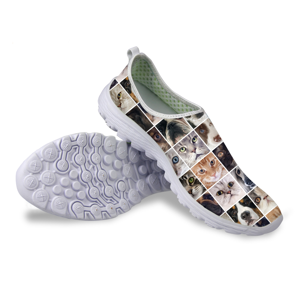 Forudesigns mujeres transpirable zapatos casuales lindo cat dog impreso manera d
