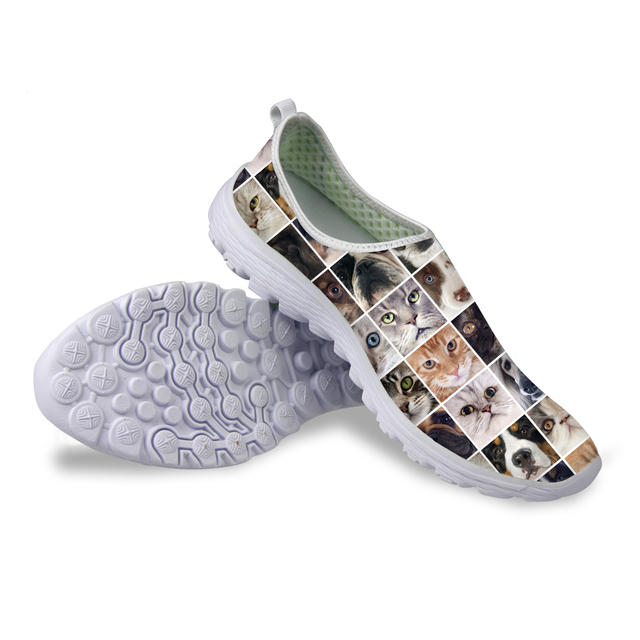 women breathable casual shoes cute cat dog printed fashion ladies trainers luxury brand designer female flat shoes zapatillas