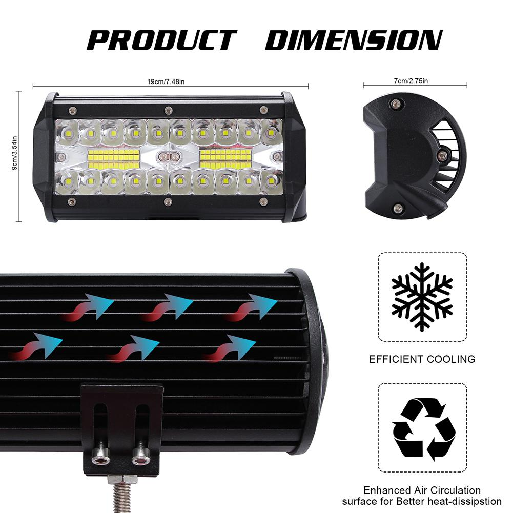 Adeeing Car Light High Bright 400W LED Bar 3 Rows 7inch 40000LM 6000K Work Light Bar Driving Lamp for Offroad Tractor Truck in Light Bar Work Light from Automobiles Motorcycles