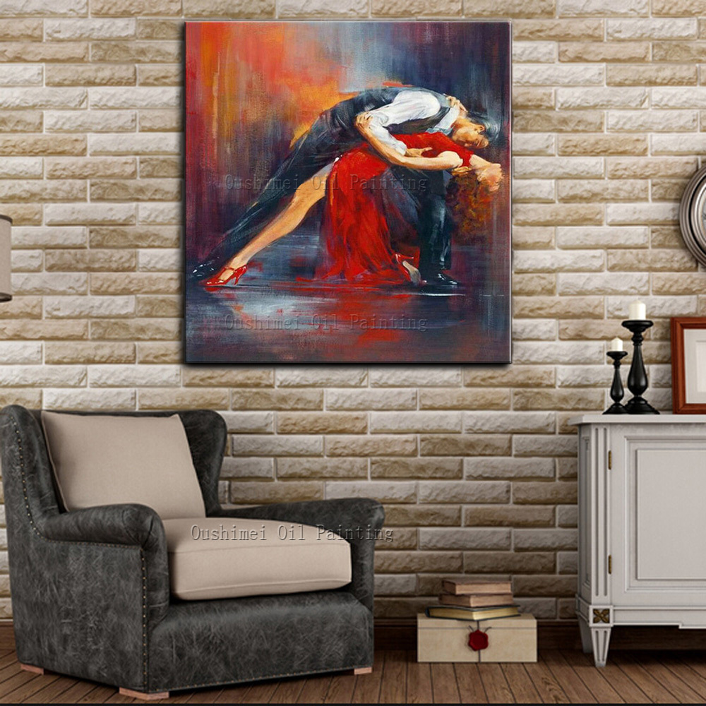Hand-painted Impressionist Dancer Oil Painting On Canvas Handmade Sexy Lady and Man Dancer Dancing Tango Wall Art Hang Pictures