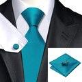 2016 de La Manera Azules Sólidos Corbata Hanky Gemelos de Seda Jacquard Corbatas Corbata Para Los Hombres gravata Formal Wedding Party Negocios C-221