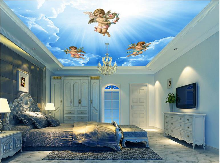 custom 3d stereoscopic ceiling wallpaper Angel blue sky 3d ceiling murals wallpaper living room 3d ceiling luxury wallpaper custom 3d stereo ceiling mural wallpaper beautiful starry sky landscape fresco hotel living room ceiling wallpaper home decor 3d