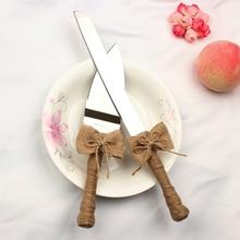 Новое поступление 2 шт./компл. Свадебный джутовый торт нож вилка с бантиком для украшения свадьбы