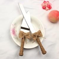 Новая коллекция 2 шт./компл. свадьбы джут торт нож, вилка с бантом Для Свадебные украшения