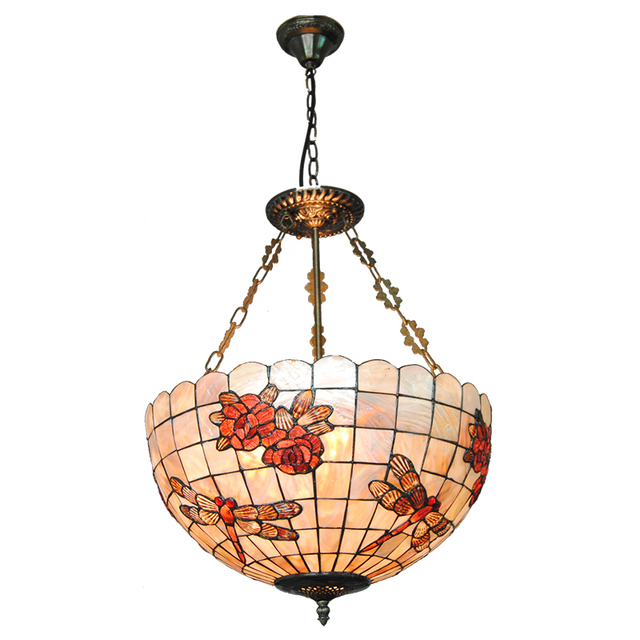 Mediterranean Sea Tiffany Dragonfly Stained Shell Invert Hanging Lights  Rose Pattern Pendant Lamp Bar Cafe Restaurant