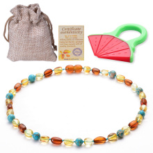 100% Natural Ambers Teething Necklace For Babies Certificated Oval Baltic Jewelry with the Highest Quality Guaranteed