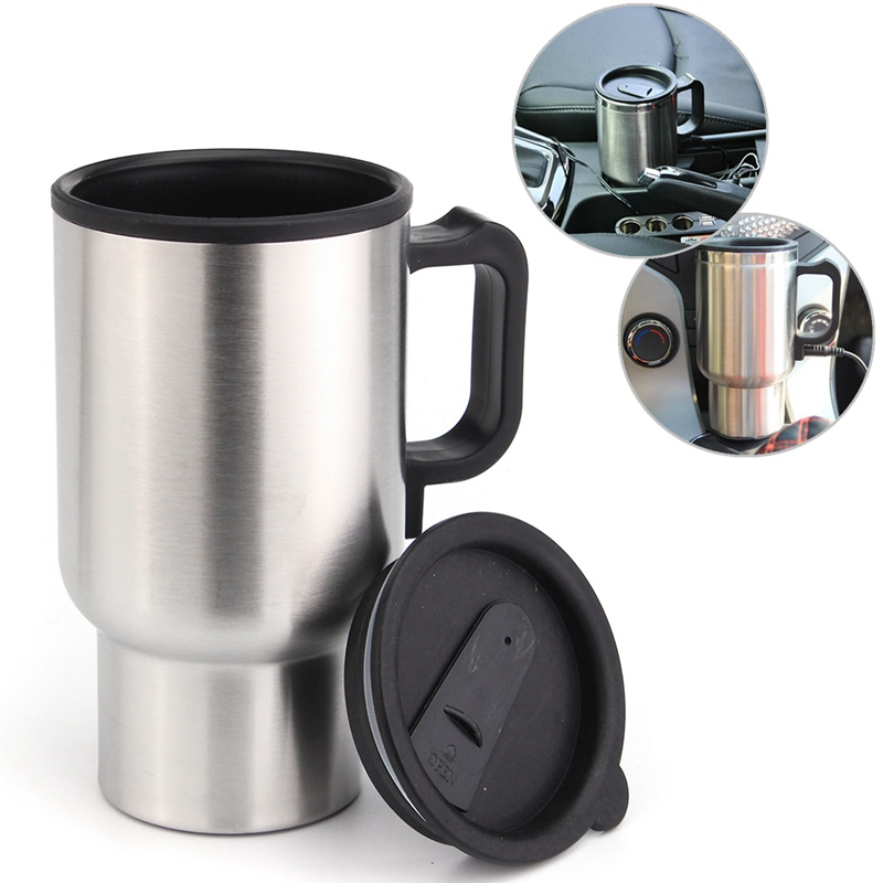12v Car Travel Electric Coffee Maker Heated Mug Heating Stainless Steel Cup Kettle Warmer Water