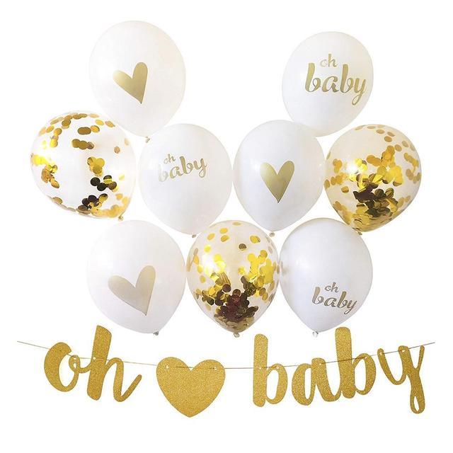 Irthday Balloons Oh Baby Heart Print Gold Flash Sheet Banner Balloon