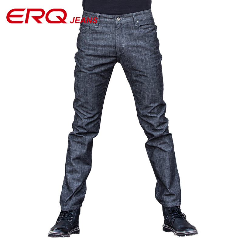 ERQ Mens Fashion Mid-waist  jeans Men Casual Jeans Slim Straight High Elasticity Feet Loose Pants Full Length Trousers 12217 new design skinny mens jeans men brand fashion male casual cotton slim straight elasticity pants loose waist long trousers denim