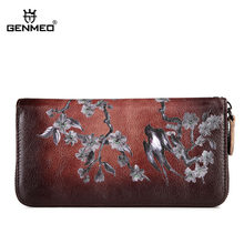 GENMEO New Genuine Leather 3D Swallow Pattern Wallet Women Cowhide Clutch Bag Vintage Red Female Coin Purse Bolsa Feminina(China)