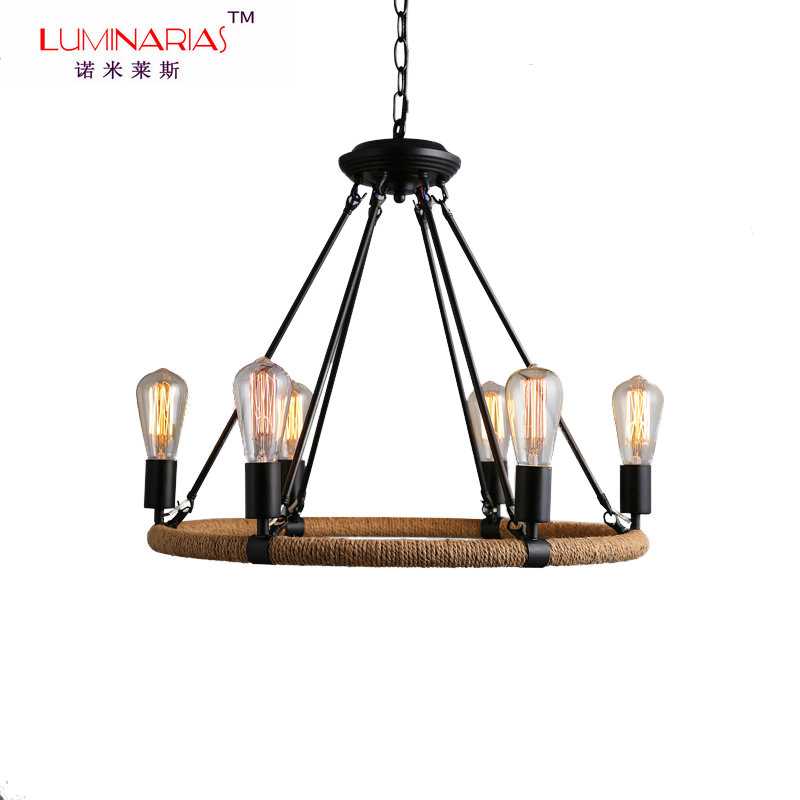 Retro Loft American Country Wronght Iron Hemp Rope Pendant Lamp Dinning Room Pendant Light Cafe Bar Lamparas Lighting Vintage nordic resin retro loft style industrial lighting vintage pendant lamp fixtures dinning room led hanging light lamparas