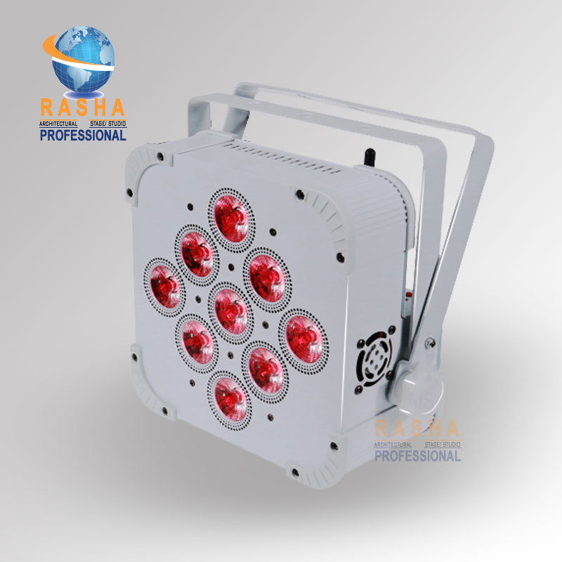 Factory Price 9pcs*15W 5in1 RGBAW Battery Powered Wireless LED Flat Par Light,LED Slim Par Can With IR Remote Control
