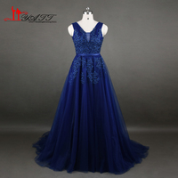 Real Photo 2017 Amazing Dark Blue Evening Prom Dress Appliques Lace Beads African Cheap Long Women