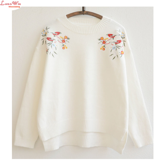 Mori Girls Floral Embroidery Casual Knitting Sweaters Pullovers Brand Cute Leisure Maglia Soft Sweaters