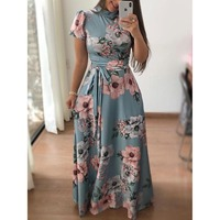 2018 Womens Retro Long Sleeve Cowl Neck Printed Casual Party Beach Dress With Belt Clothes Summer Autumn Elegant Dress S M L XL